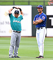 Norichika Aoki (Mariners), Yu Darvish (Rangers),<br /> MARCH 6, 2016 - MLB :<br /> Norichika Aoki of the Seattle Mariners and Yu Darvish of the Texas Rangers talk before a spring training baseball game at Surprise Stadium in Surprise, Arizona, United States. (Photo by AFLO)