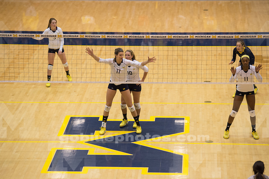 The University of Michigan volleyball team defeats Ohio State University, 3-1, at Cliff Keen Arena in Ann Arbor on Nov. 15, 2014.