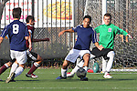 El Segundo, CA 02/04/10 - Rory Sillence (El Segundo#1) and Trevor Thompkins (El Segundo#4) in action during the El Segundo - Torrance league game, El Segundo defeated Torrance with a late minute goal in the second overtime period.
