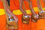 Buddhist monks in line for food offerings from the devotees.