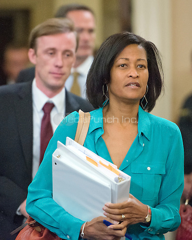 Attorney Cheryl D. Mills and Foreign Policy Advisor Jake Sullivan arrive prior to former United States Secretary of State Hillary Rodham Clinton, a candidate for the 2016 Democratic Party nomination for President of the United States, giving testimony before the US House Select Committee on Benghazi on Capitol Hill in Washington, DC on Thursday, October 22, 2015.  Both Mills and Sullivan testified before the committee in early September.<br /> Credit: Ron Sachs / CNP/MediaPunch