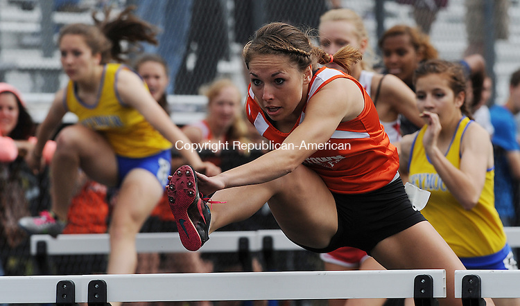BEACON FALLS,  CT, 22MAY 2012-052212JS08-Watertown's Sara Barnick won the 110m hurdles during the NVL Track and Field Championships Tuesday at Woodland Regional High School in Beacon Falls..Jim Shannon Republican-American