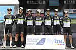 Team Dimension Data on the podium at sign on before the start of Stage 3 of the Tour de Yorkshire 2017 running 194.5km from Bradford/Fox Valley to Sheffield, England. 30th April 2017. <br /> Picture: ASO/P.Ballet | Cyclefile<br /> <br /> <br /> All photos usage must carry mandatory copyright credit (&copy; Cyclefile | ASO/P.Ballet)