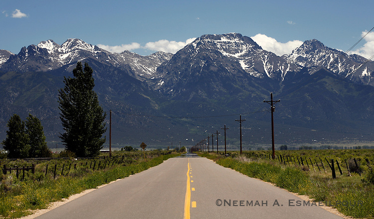 A road leads to the Crestone Group in the Rocky Mountains of Southern Colorado.