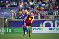 Orlando, Florida - Sunday, May 14, 2016: Orlando Pride midfielder Kaylyn Kyle (6) goes up for a header Western New York Flash forward Makenzy Doniak (3) with during a National Women's Soccer League match between Orlando Pride and New York Flash at Camping World Stadium.