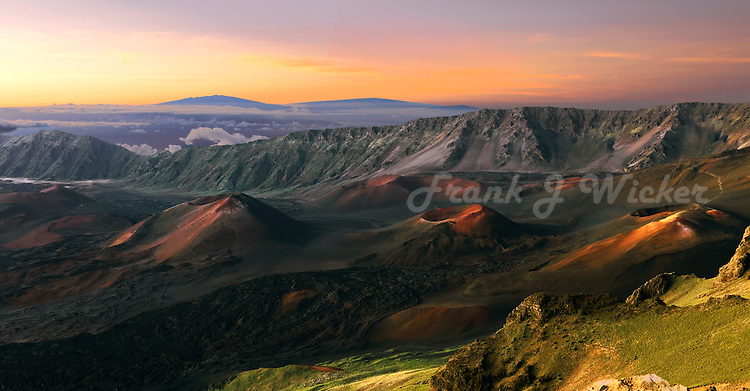 Early morning light enhances the beauty of the crater in HALEAKALA NATIONAL PARK on Maui in Hawaii