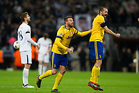 Giorgio Chiellini (right) of Juventus and team mate Andrea Barzagli celebrate their victory at the final whistle <br /> <br /> Photographer Craig Mercer/CameraSport<br /> <br /> UEFA Champions League Round of 16 Second Leg - Tottenham Hotspur v Juventus - Wednesday 7th March 2018 - Wembley Stadium - London <br />  <br /> World Copyright &copy; 2017 CameraSport. All rights reserved. 43 Linden Ave. Countesthorpe. Leicester. England. LE8 5PG - Tel: +44 (0) 116 277 4147 - admin@camerasport.com - www.camerasport.com