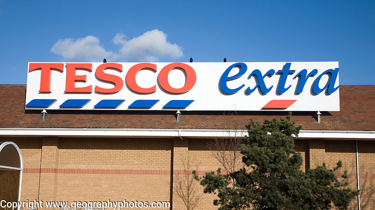 Tesco Extra shop sign