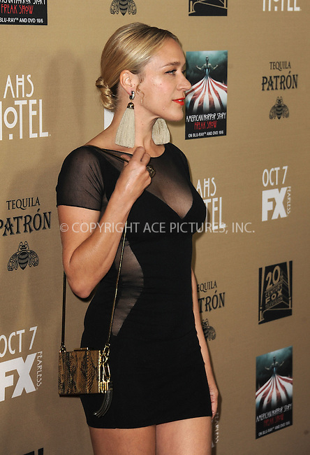 WWW.ACEPIXS.COM<br /> <br /> October 3 2015, LA<br /> <br /> Chloe Sevigny arriving at the premiere of FX's 'American Horror Story: Hotel' at the Regal Cinemas L.A. Live on October 3, 2015 in Los Angeles, California.<br /> <br /> <br /> By Line: Peter West/ACE Pictures<br /> <br /> <br /> ACE Pictures, Inc.<br /> tel: 646 769 0430<br /> Email: info@acepixs.com<br /> www.acepixs.com