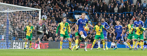 21.11.2015. Stamford Bridge, London, England. Barclays Premier League. Chelsea versus Norwich City. Chelsea defender Branislav Ivanovic flicks the ball on inside the Norwich goal area.