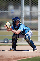 Tampa Bay Rays catcher Jordyn Muffley (69) warms up before a Minor League Spring Training game against the Minnesota Twins on March 17, 2018 at CenturyLink Sports Complex in Fort Myers, Florida.  (Mike Janes/Four Seam Images)
