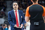 Olympiacos Piraeus coach Ioannis Sfairopoulos talking with referee during Turkish Airlines Euroleague match between Real Madrid and Olympiacos Piraeus at Wizink Center in Madrid , Spain. February 09, 2018. (ALTERPHOTOS/Borja B.Hojas)