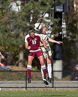 Florida State midfielder Amanda DaCosta (13) and Boston College midfielder Julia Bouchelle (12) battle for head ball. Florida State University defeated Boston College, 1-0, at Newton Soccer Field, Newton, MA on October 31, 2010.