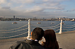 Istanbul, Turkey, Couple, view of Istanbul from Uskudar, Asian shore, Anatolian side,