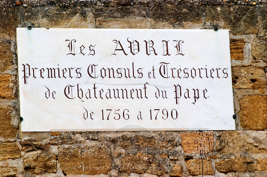 A commemorative plaque at the paul Avril, Clos des Papes vineyard Chateauneuf-du-Pape Châteauneuf, Vaucluse, Provence, France, Europe Chateauneuf-du-Pape Châteauneuf, Vaucluse, Provence, France, Europe