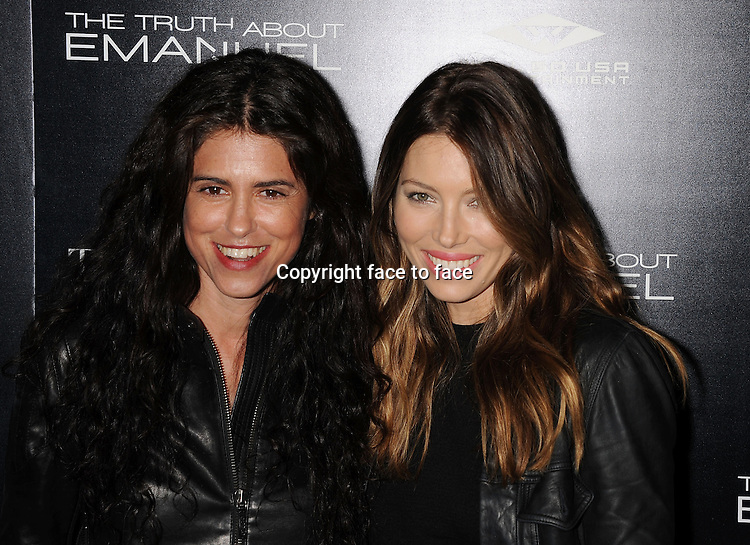 HOLLYWOOD, CA- DECEMBER 04: Director Francesca Gregorini (L) and actress Jessica Biel arrive at the 'The Truth About Emanuel' - Los Angeles Premiere - Arrivals at ArcLight Hollywood on December 4, 2013 in Hollywood, California.<br />