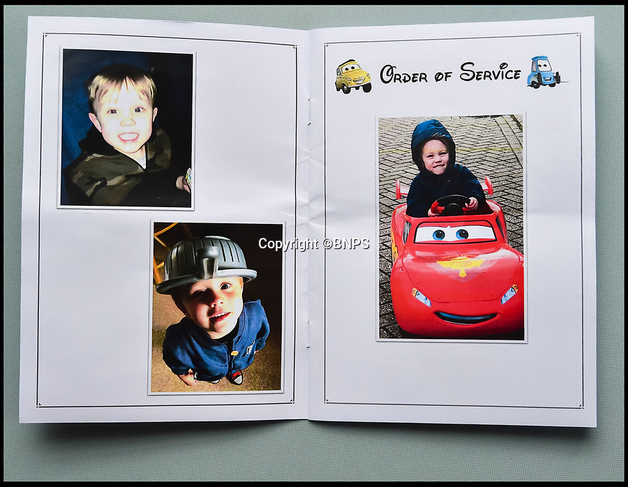 BNPS.co.uk (01202 558833)Pic: GrahamHunt/BNPS<br /> <br /> Cars themed order of service for the funeral of tragic Jaiden Mangan.<br /> <br /> A lorry driver who sarcastically clapped a motorist moments before he knocked down and killed a young boy on a pedestrian crossing was today cleared of causing death by dangerous driving.<br /> <br /> Dean Phoenix admitted he made a mistake by failing to see a red light at the crossing to allow three-year-old Jaiden Mangan and his family walk across.<br /> <br /> Phoenix, 44, pulled away without seeing them and collided with Jaiden, who suffered fatal chest and abdominal injuries.<br /> <br /> A court heard that the Phoenix had been distracted at the time because he was 'sarcastically clapping' another motorist just as he drove off.