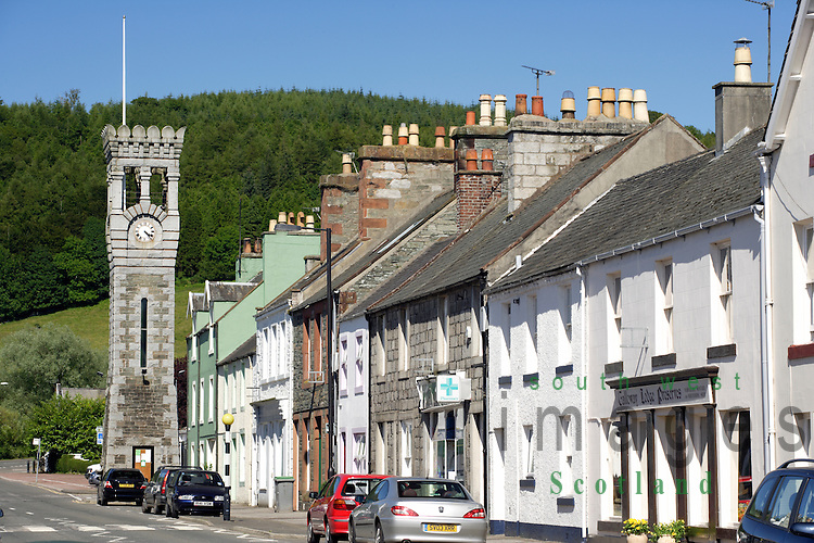 Looking up to clock tower on High Street in the small picturesque town of Gatehouse of Fleet Galloway Scotland UK