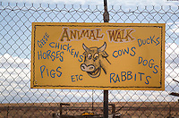 Animal Walk at the Meteor City Trading Post,  built in 1938 and boasts the Worlds Longest Map of Route 66 at over a 100 feet long.  The map was originally painted by Bob Waldmire and restored in 2003. The Dome shaped building was built 1979 and burned in 1990, and rebuilt.