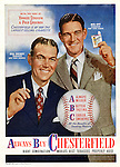 Color Advertisement for Chesterfield Cigarettes and two Major League Baseball Managers - 1946