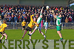 Aiden Boyle of Ballyduff waits as the ball passes Emmet's Paudie Buckley(no8) and Aiden Holly of Ballyduff.