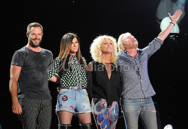 12 June 2016 - Nashville, Tennessee - Jimi Westbrook, Karen Fairchild, Kimberly Schlapman and Phillip Sweet, Little Big Town. 2016 CMA Music Festival Nightly Concert held at Nissan Stadium. Photo Credit: Dara-Michelle Farr/AdMedia