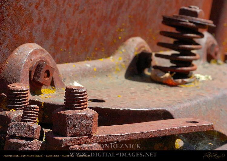 Antique Farm Equipment Suspension Detail, Farm Field, Mariposa, California