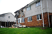 Pictured: Gas explosion in a flat in Waun Las, Waunceirch area of Neath in south Wales, UK. Tuesday 15 January 2019<br /> Re: