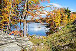 View of Lake Massawippa in autumn, located on Route 6 in Orange County, New York, east of Woodbury