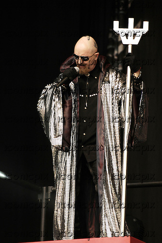 Judas Priest - vocalist Rob Halford - performing live on Day One on the Main Stage at the 2008 Download Festival at Donington Park UK - 13 Jun 2008.  Photo by: George Chin/IconicPix