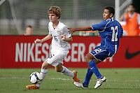 Alex Shinsky (16) of the USA and Oswald DeLeon (12) of the Academy Select Team. The US U-17 Men's National Team defeated the Development Academy Select Team 3-1 during day one of the US Soccer Development Academy  Spring Showcase in Sarasota, FL, on May 22, 2009.