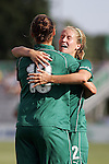 26 July 2009: Elise Weber (right) of Saint Louis Athletica congratulates teamate Niki Cross (19) after Cross scored her goal.  Saint Louis Athletica tied the visiting FC Gold Pride 1-1 in a regular season Women's Professional Soccer game at Anheuser-Busch Soccer Park, in Fenton, MO.