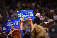 Baltimore, MD - April 23, 2016: Supporters holds signs as Sen. Bernie Sanders speaks during a presidential campaign rally at the Royal Farms Arena in Baltimore, MD, April 23, 2016.  (Photo by Don Baxter/Media Images International)
