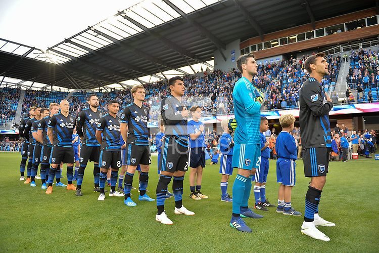 San Jose, CA - Saturday June 09, 2018: National anthem during a Major League Soccer (MLS) match between the San Jose Earthquakes and Los Angeles Football Club at Avaya Stadium.
