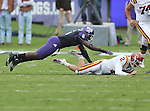 TCU Horned Frogs safety Elisha Olabode (6) and Iowa State Cyclones quarterback Steele Jantz (2) in action during the game between the Iowa State Cyclones and the TCU Horned Frogs  at the Amon G. Carter Stadium in Fort Worth, Texas. Iowa State leads TCU 16 to 10 at halftime....