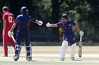 Bilal Patel (R) and Aron Nijjar enjoy a useful partnership for Wanstead during Wanstead and Snaresbrook CC vs Hornchurch CC, Shepherd Neame Essex League Cricket at Overton Drive on 30th June 2018