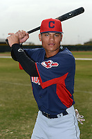 Cleveland Indians shortstop Yu-Cheng Chang (9) poses for a photo after an Instructional League game against the Kansas City Royals on October 9, 2013 at Surprise Stadium Training Complex in Surprise, Arizona.  (Mike Janes/Four Seam Images)