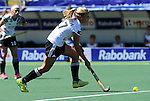 The Hague, Netherlands, June 13: Anissa Korth #27 of Germany dribbles the ball during the field hockey placement match (Women - Place 7th/8th) between Korea and Germany on June 13, 2014 during the World Cup 2014 at Kyocera Stadium in The Hague, Netherlands. Final score 4-2 (2-0)  (Photo by Dirk Markgraf / www.265-images.com) *** Local caption ***