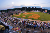 A good crowd was on hand for the South Atlantic League game between the Augusta GreenJackets and the Kannapolis Intimidators at Fieldcrest Cannon Stadium July 25, 2009 in Kannapolis, North Carolina. (Photo by Brian Westerholt / Four Seam Images)