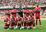 15 June 2006: Trinidad's starters pose for a team photo. Front row (l to r): Christopher Birchall (TRI), Cyd Gray (TRI), Carlos Edwards (TRI), Densill Theobald (TRI), Stern John (TRI). Back row (l to r): Dwight Yorke (TRI), Kenwyne Jones (TRI), Shaka Hislop (TRI), Brent Sancho (TRI), Aurtis Whitley (TRI), Dennis Lawrence (TRI). England defeated Trinidad and Tobago 2-0 at the Frankenstadion in Nuremberg, Germany in match 19, a Group B first round game, of the 2006 FIFA World Cup.
