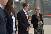Hamish Watson, Sian Berry, Green candidate for Mayor of London, Launch of Polysolar photovoltaic bus shelter, Canary Wharf, London.