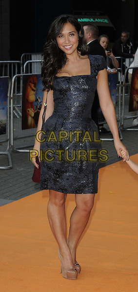 "Myleene Klass.""The Lion King 3D"" UK Premiere at BFI IMAX, Waterloo, London, England..September 25th 2011.full length black blue dress beige platform shoes .CAP/CAN.©Can Nguyen/Capital Pictures."