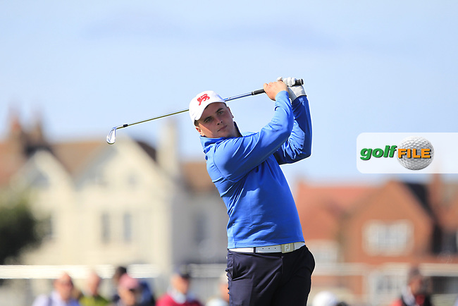 James Sugrue (GB&I) on the 2nd tee during Day 1 Singles of the Walker Cup at Royal Liverpool Golf CLub, Hoylake, Cheshire, England. 07/09/2019.<br /> Picture: Thos Caffrey / Golffile.ie<br /> <br /> All photo usage must carry mandatory copyright credit (© Golffile | Thos Caffrey)