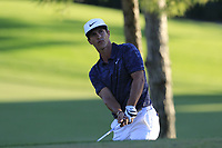 Thorbjorn Olesen (DEN) chips onto the 18th green during Thursday's Round 1 of the 2018 Turkish Airlines Open hosted by Regnum Carya Golf &amp; Spa Resort, Antalya, Turkey. 1st November 2018.<br /> Picture: Eoin Clarke | Golffile<br /> <br /> <br /> All photos usage must carry mandatory copyright credit (&copy; Golffile | Eoin Clarke)
