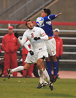 University of California Santa Barbara, Alfonso Motagalvan (#11) wins the ball from Xavier Balc (#3 OSU) during their loss to the Ohio State University in the 3rd round of the 2007 NCAA Collage Cup.