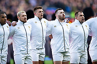 Jack Nowell, Henry Slade, Luke Cowan-Dickie and Ben Moon of England sing the national anthem. Guinness Six Nations match between England and France on February 10, 2019 at Twickenham Stadium in London, England. Photo by: Patrick Khachfe / Onside Images
