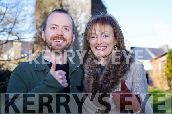 Thumbs up from Mary Kennedy and Rob McGuire during the recording of RTE's Nationwide recording of the Desmond castle for the programme in Castleisland on Tuesday afternoon last.