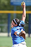 Western Nevada College Wildcats' Sadee Sorensen pitches against Shasta College in a preseason softball game in Reno, Nev., on Saturday, Sept. 20, 2014.<br /> Photo by Cathleen Allison