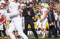 Berkeley- November 22, 2014: David Shaw, head coach, before the Stanford vs Cal at Memorial Stadium in Berkeley Saturday afternoon<br /> <br /> The Cardinal defeated the Bears 38 - 17