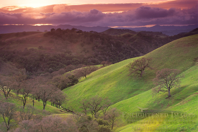 Stormy sunset over green hills, Mt. Diablo State Park, Contra Costa County, CALIFORNIA